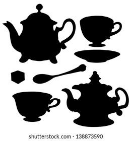 Set icon teapots, teacups, teaspoon, saucer and sugar. Abstract design logo. Logotype art - vector