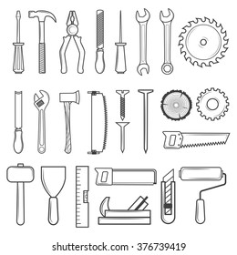 Set of icon tools line style for carpentry service, repair service, lumberjack, sawmill and woodwork isolated on white background. Vector illustration
