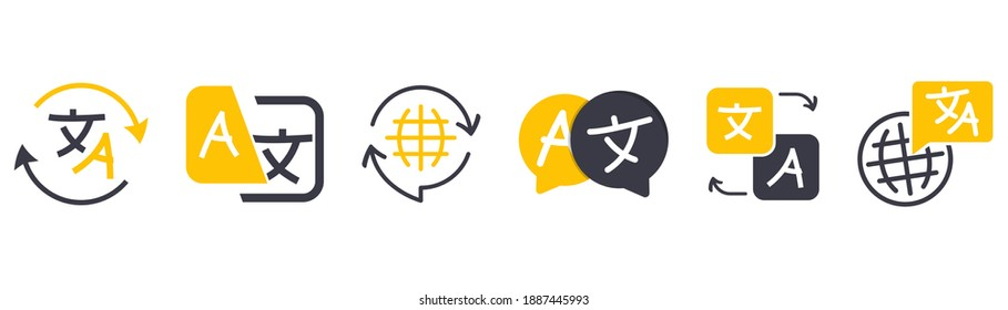 Set of icon for translator app. Chat bubbles with language translation icons in different styles. Online multi language translator. Translation app icon. Online Translator. Multilingual communication