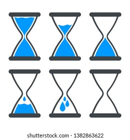 Set of icon water in hourglass. Stop global warming, stop waste concept. World water day icon. Vector illustration