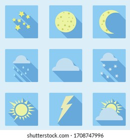 Set of icon with weather in flat style.