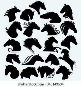 Set icon wild horses. Isolated on blue background. Vector silhouettes