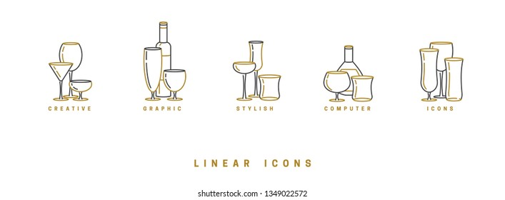 set icon wine glasses and bottle in linear style