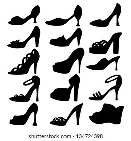 Set icon women shoes isolated black silhouette. High heels. Clogs. Sandals. White background. Abstract design logo. Logotype art- vector
