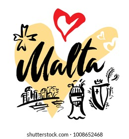Set with iconic symbols in calligraphic style of the Malta on the background of hearts, Maltese cross, knight helmet, knight's shield. Calligraphy Malta, vector. Travel to Malta.
