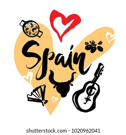 Set with iconic symbols in calligraphic style of the Spain on the background of hearts, guitar, bull head, bull, fan, paella, olives. Calligraphy Spain, vector. Travel to Spain.