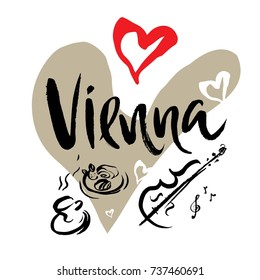 Set with iconic symbols in calligraphic style of the Vienna, violin, clef, coffee, strudel. Calligraphy Vienna, vector.