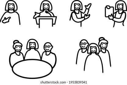 A set of icons about self-presentation and teamwork. Introduction, explanation, conference, meeting, achievements.