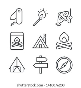 Set of icons with accessories for summer outdoor recreation