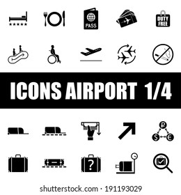 Set of icons airport on white background