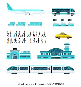 Set of icons with airport people with luggage transport including train plane bus taxi isolated vector illustration