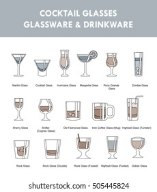 Set of icons of alcohol drinks with glasses titles. Ultimate bartender guide, helper.