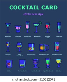 Set of icons of alcohol drinks with glasses titles in neon ultraviolet bright coloring. Ultimate guide and helper for bartender.