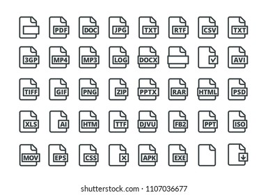 Set of icons all popular program formats. PDF DOC and many others uniform. Vector illustration flat. Black and white isolated