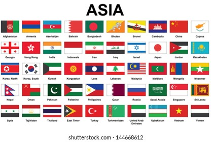set of icons with Asian countries flags