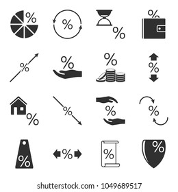 Set of icons associated with loans and interest rates on them on a white isolated background. Vector illustration