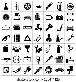 Set icons of auto, car parts, repair and service isolated on white. Vector illustration