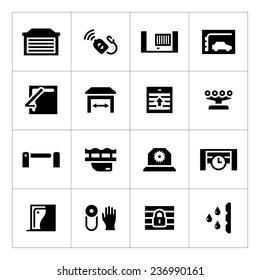 Set icons of automatic gates isolated on white. Vector illustration