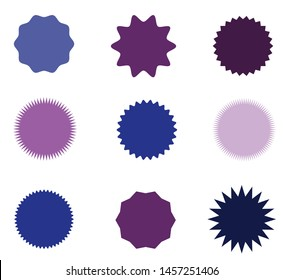Set of icons badges starburst, sunburst, label, sticker. 9 different types and differebt shades of blue and purple colors . Design elements. Vector illustration