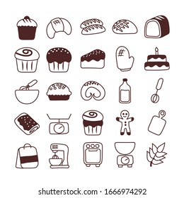 set of icons bakery, line style icon vector illustration design