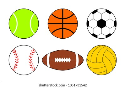 a set of icons of balls from different sports. Basketball and football balls illustration. Vector cartoon ball set for soccer and rugby.