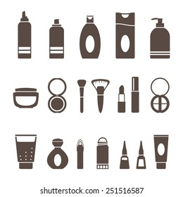 Set icons of beauty and cosmetics isolated on white. Vector set.