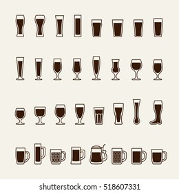 Set icons of beer glass silhouettes. Vector
