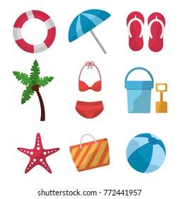 set icons best summer season vacation