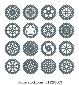 Set of icons bicycle chainring. Isolated on white background