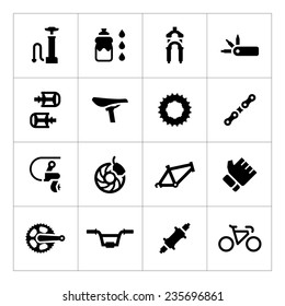 Set icons of bicycle - parts and accessories isolated on white. Vector illustration