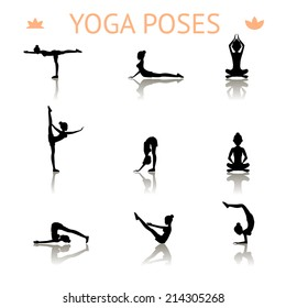 Set of icons of black yoga silhouette poses showing a graceful shapely lady meditating  bending  balancing  lotus  push-ups and doing a handstand in a health  fitness and exercise concept