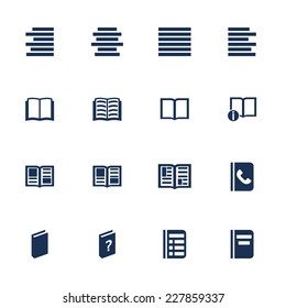 Set of icons for book, list and information in flat style