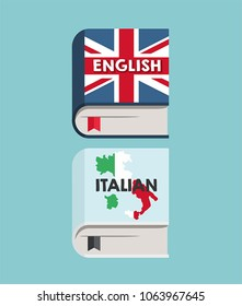 A set of icons books on learning English and Italian languages.