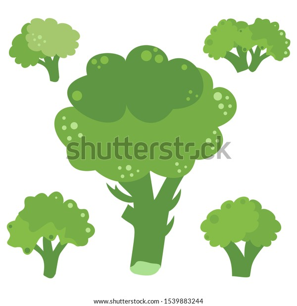 Set icons of broccoli. Vector clipart of eco vegetables.