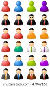 set of icons of buddies, colors and clothes in vector
