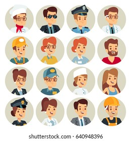 Set icons Business avatars Flat vector Illustration