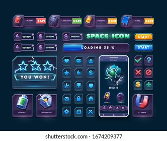 Set of icons and buttons for 2d space game. Big set buttons for games and app. Metal game UI kit. Space game icon.