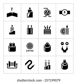 Set icons of cables and wires isolated on white. Vector illustration
