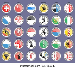 Set of icons. Cantons of Switzerland Flags. 3D. Vector.