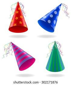 set icons cap for birthday celebrations vector illustration isolated on white background