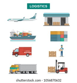 Set of icons Cargo Transportation, Packaging, shipping, delivery and logistics on flat style with Truck, air cargo, postman shipping. isolated vector illustration