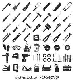 Set icons for carpentry tools, equipment, and protective clothing. Everything you need for a carpenter's workshop, from hand tools to electrical equipment. Vector illustration isolated.