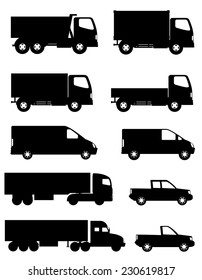 set of icons cars and truck for transportation cargo black silhouette vector illustration isolated on white background