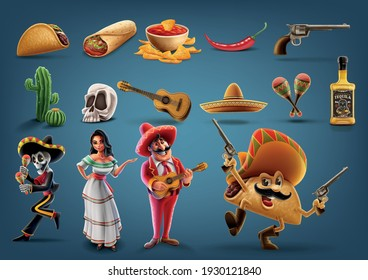 set of icons with cartoon characters Mexico