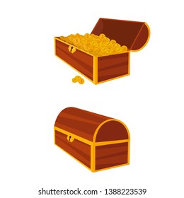 Set of icons with cartoon closed and opened brown wooden pirate chests with golden coins. Vector illustration.