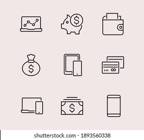 Set of Icons of Cash and Payment Systems. Thin Icons Vector Cash, Transfers of Dollars Isolated on Background Icons. Editable stroke