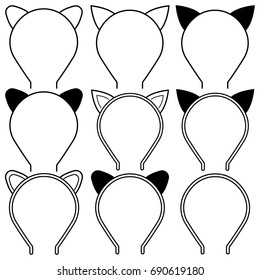 Set icons cat ears headband for girl and woman on white background. Transparent outline and silhouettes vector isolated drawing cat ears headband. Illustration graphic icon in flat style.