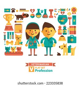 Set of icons and characters veterinary medicine. Flat design.