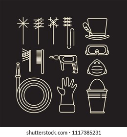 Set of icons of chimney sweep tools and equipment in line art minimal style