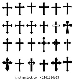Set of icons of christian and catholic crosses isolated on white background. Design element for poster, card, emblem, sign. Vector illustration